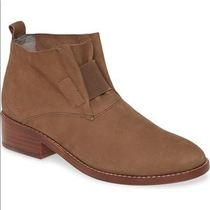 eileen fisher soul leather gathered brown ankle booties